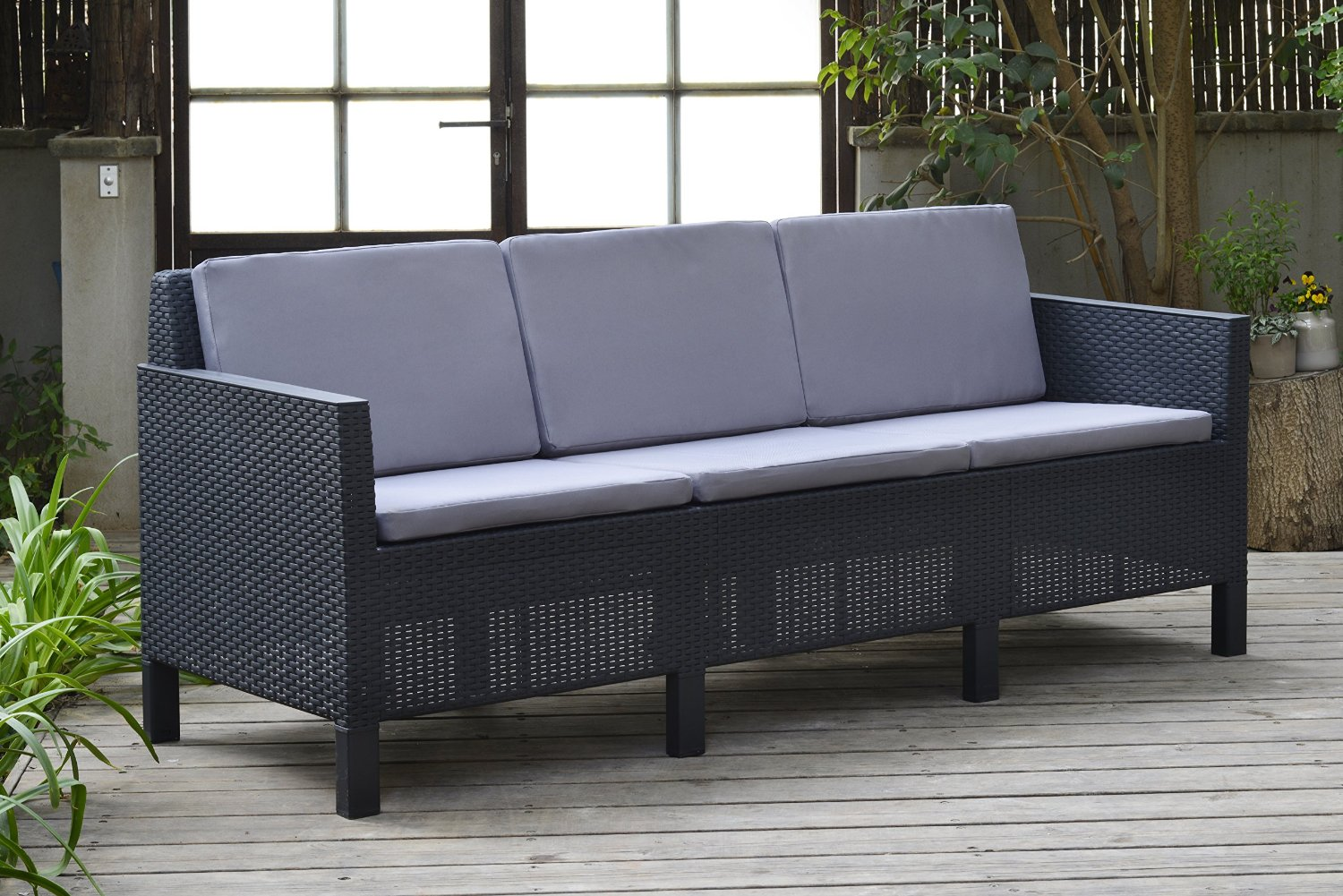 allibert chicago 5 seater lounge set with grey cushions 3 years guarantee uk. Black Bedroom Furniture Sets. Home Design Ideas