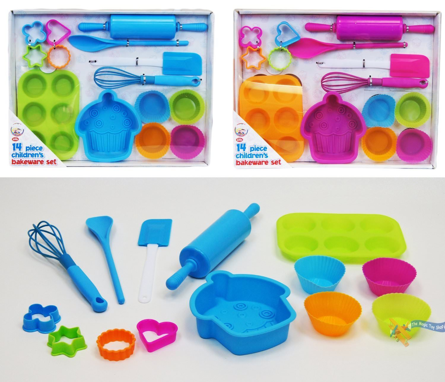 14 piece childrens silicone bakeware baking set cupcake. Black Bedroom Furniture Sets. Home Design Ideas