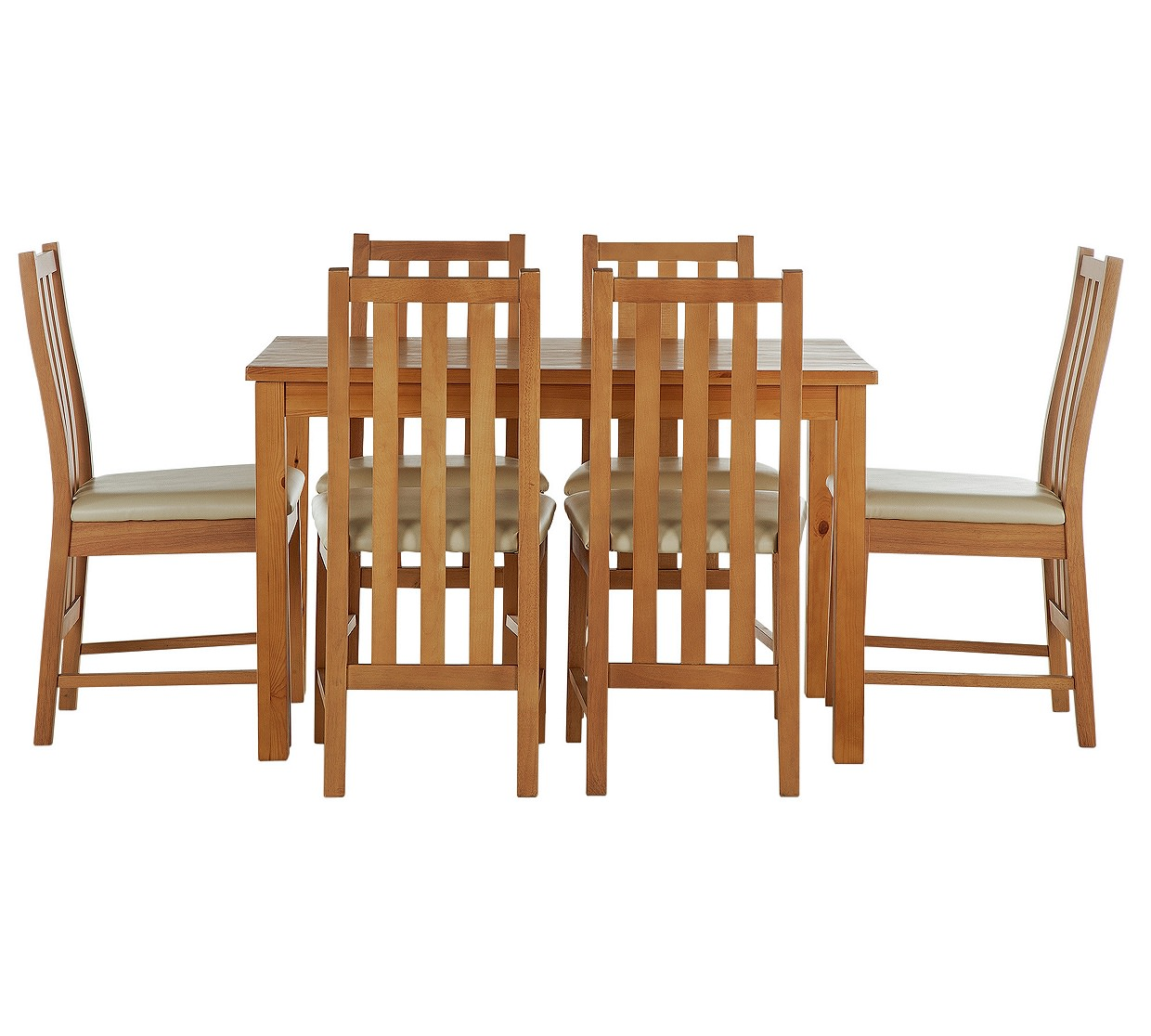 Stanford 150cm dining table and 6 chairs oak effect for Table 6 chaises