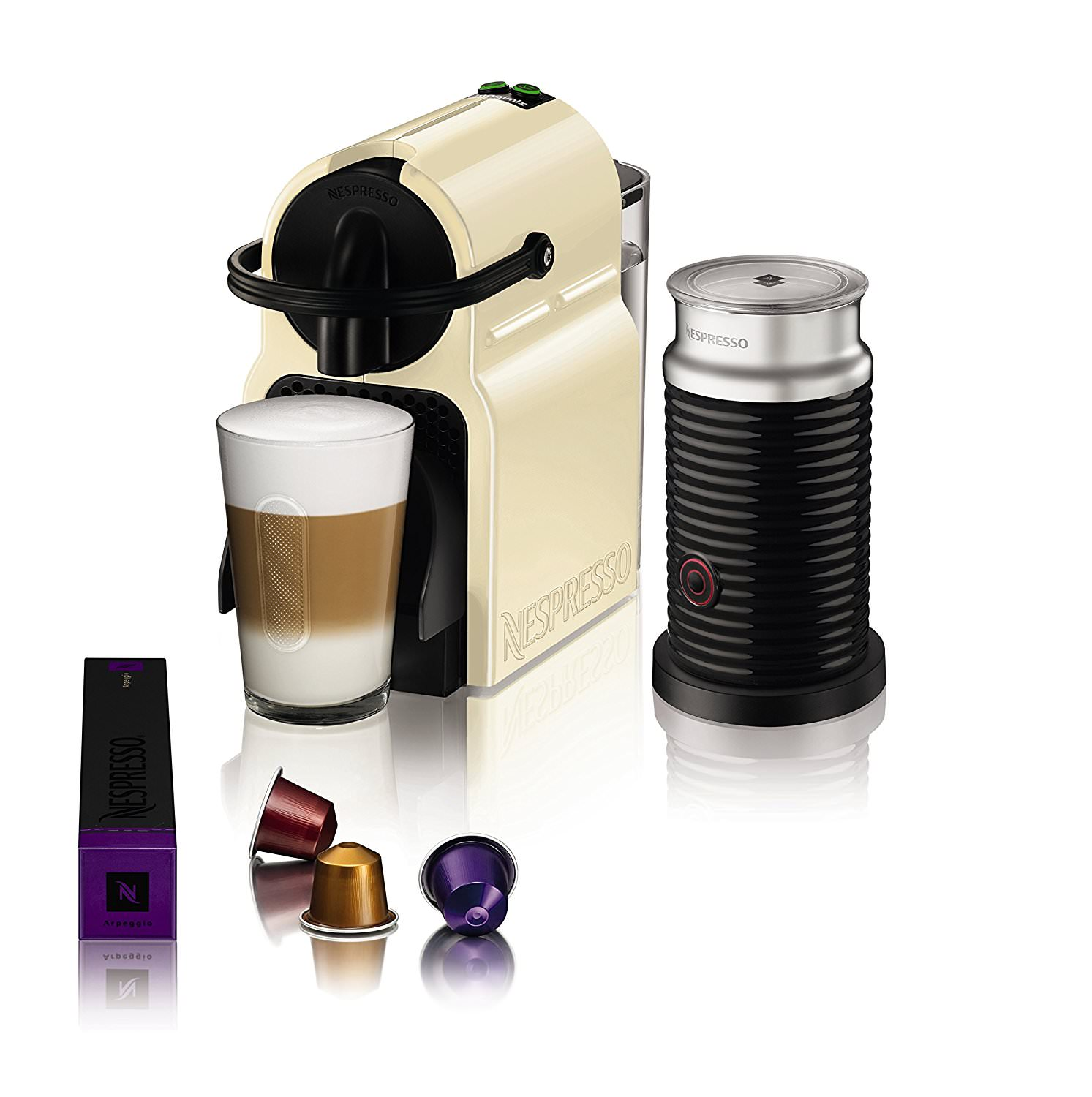 magimix nespresso inissia coffee machine with aeroccino cream black uk official. Black Bedroom Furniture Sets. Home Design Ideas