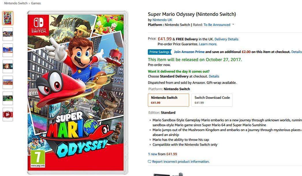 Super Mario Odyssey (Nintendo Switch) £39 99 at Amazon