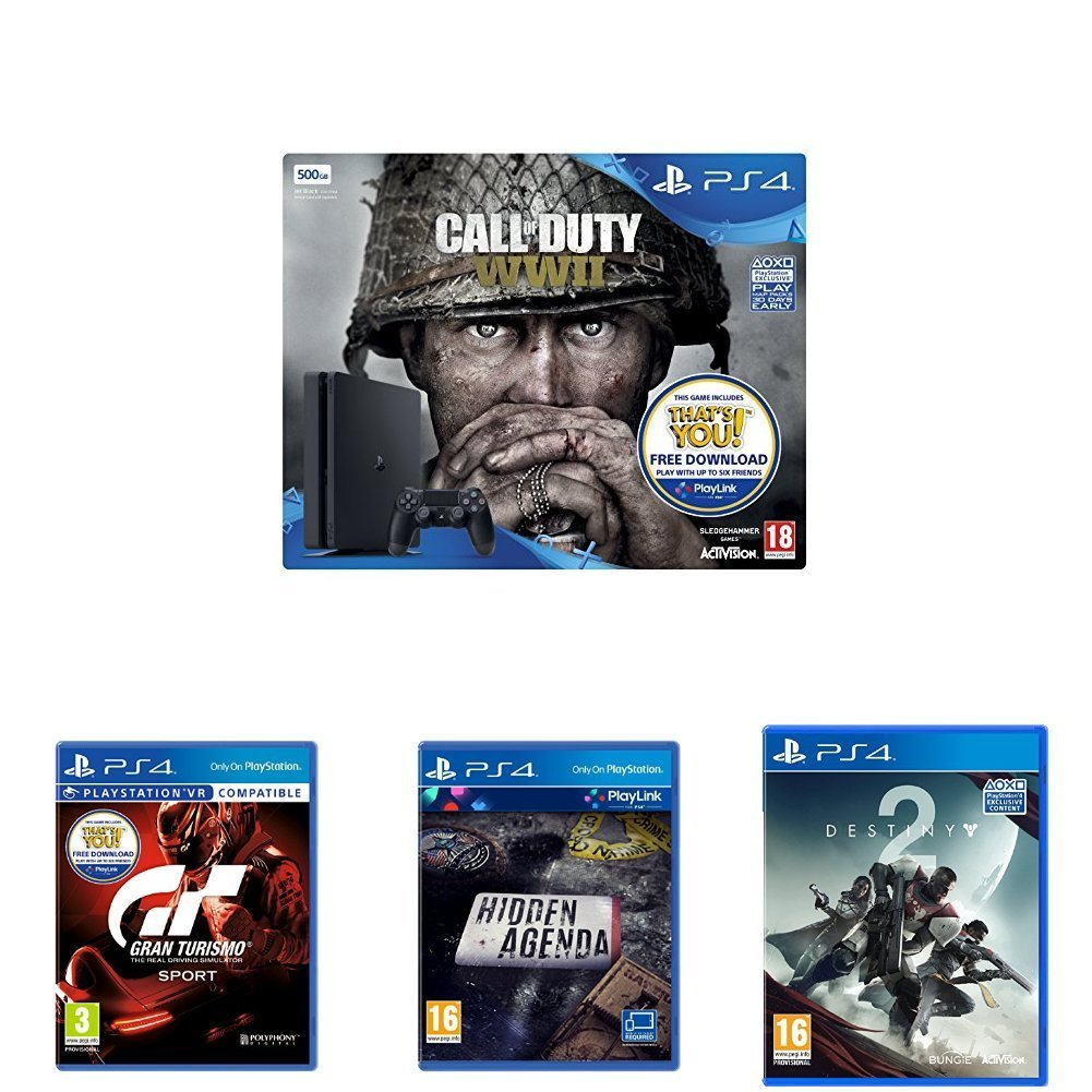 sony playstation 4 500gb with call of duty ww2 gran turismo sport hidden agenda destiny 2. Black Bedroom Furniture Sets. Home Design Ideas