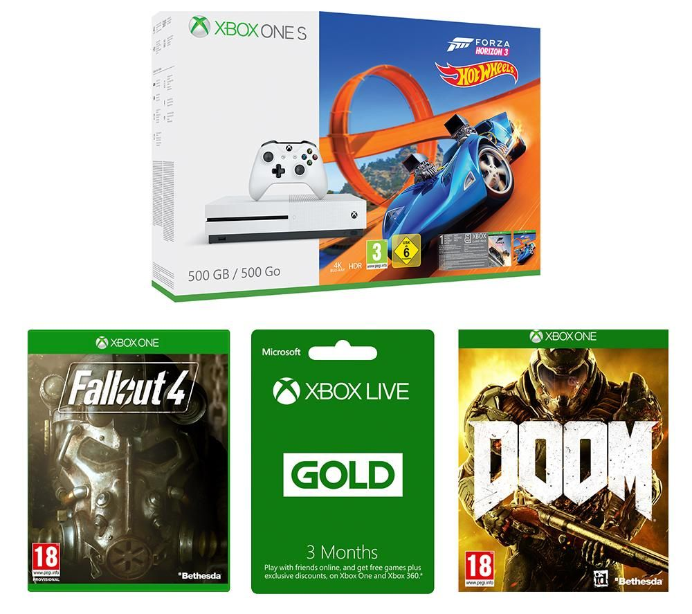 xbox one s 500gb with forza horizon 3 hot wheels expansion pack fallout 4 doom xbox live. Black Bedroom Furniture Sets. Home Design Ideas