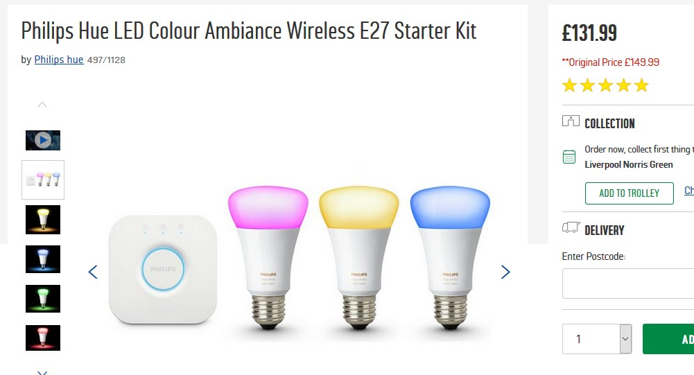 philips hue led colour ambiance wireless b22 or e27. Black Bedroom Furniture Sets. Home Design Ideas