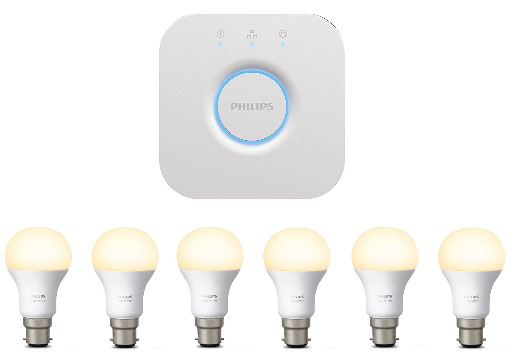 6 x philips hue bulbs philips hue personal wireless lighting home automation bridge 2 0. Black Bedroom Furniture Sets. Home Design Ideas