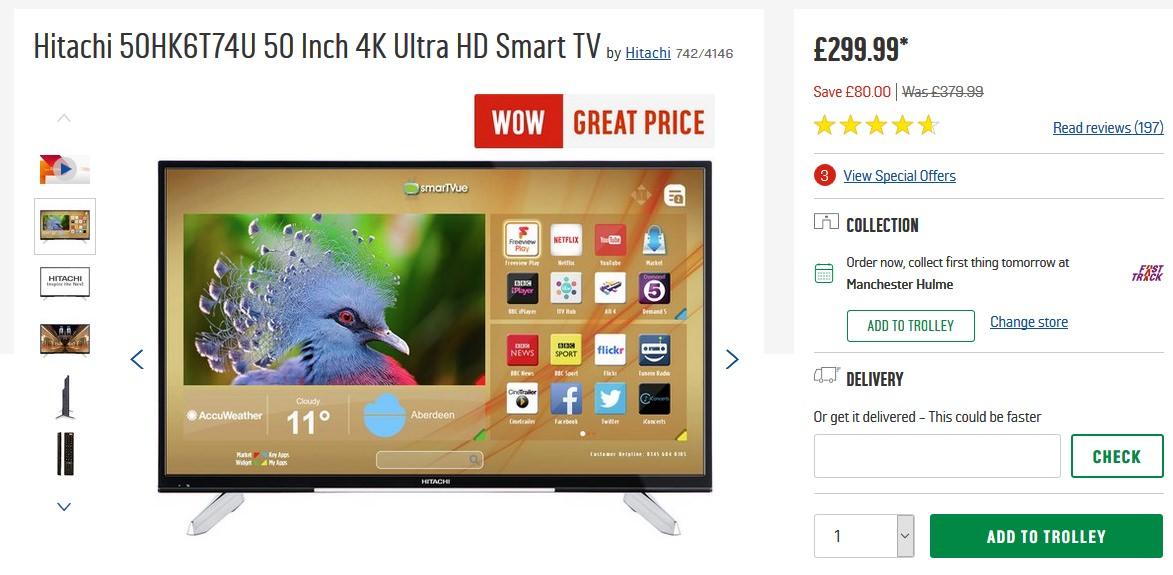 hitachi 50hk6t74u 50 inch 4k ultra hd smart tv at. Black Bedroom Furniture Sets. Home Design Ideas