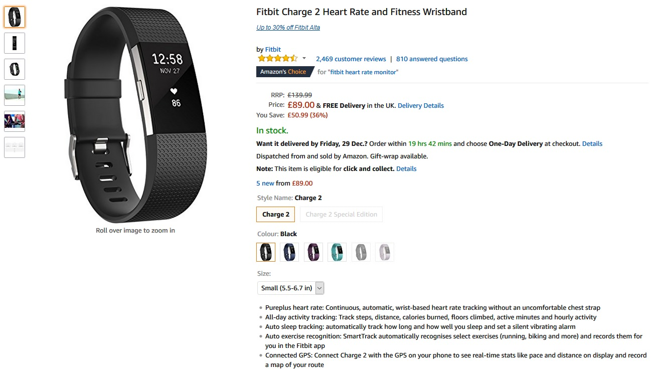 Fitbit Charge 2 Heart Rate & Fitness Wristband Reduced to