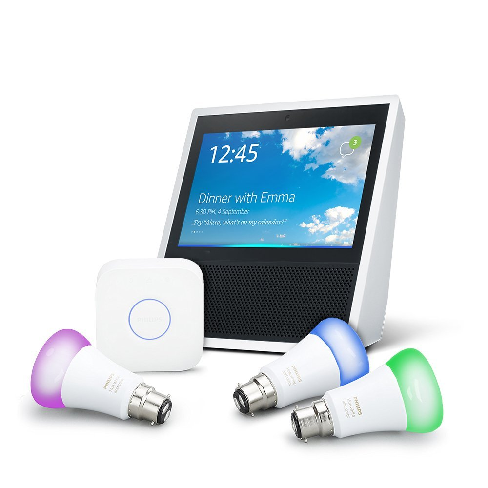 amazon echo show white philips hue white and colour ambiance b22 lighting starter kit. Black Bedroom Furniture Sets. Home Design Ideas