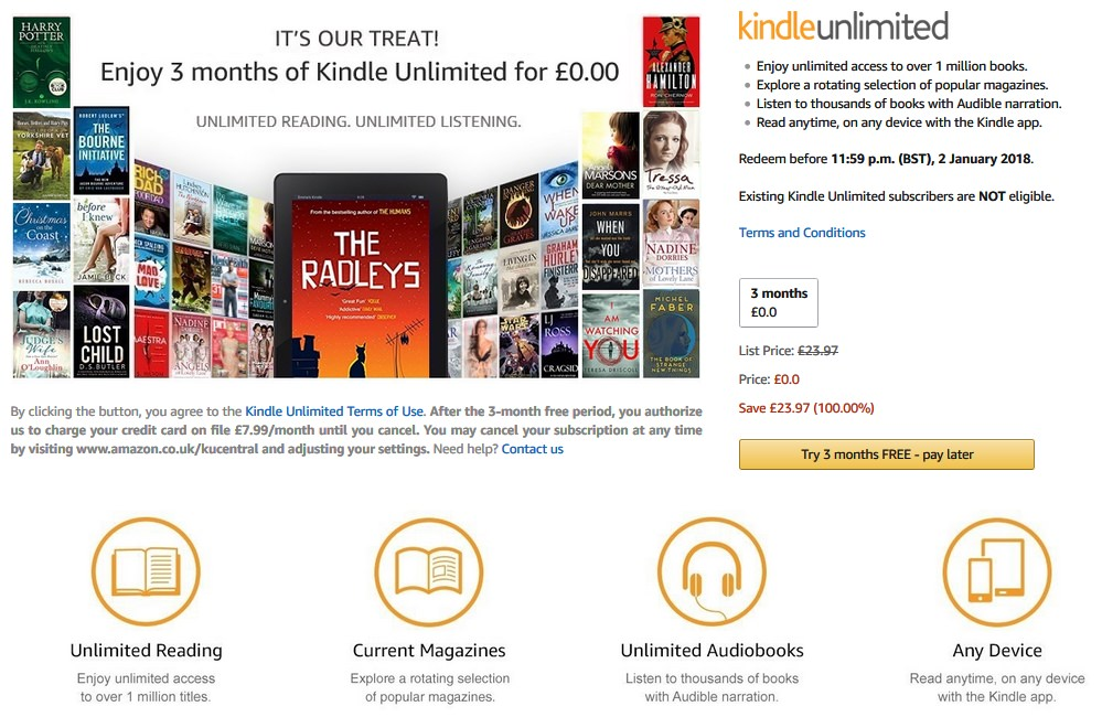 It's BACK! Get 3 Months of Kindle Unlimited for Free (worth