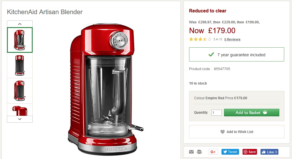 KitchenAid Artisan Blender + 7 Years Warranty £179 – REDUCED TO on