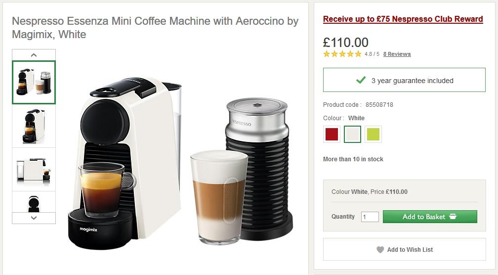 Magimix Nespresso Essenza Mini White Coffee Machine