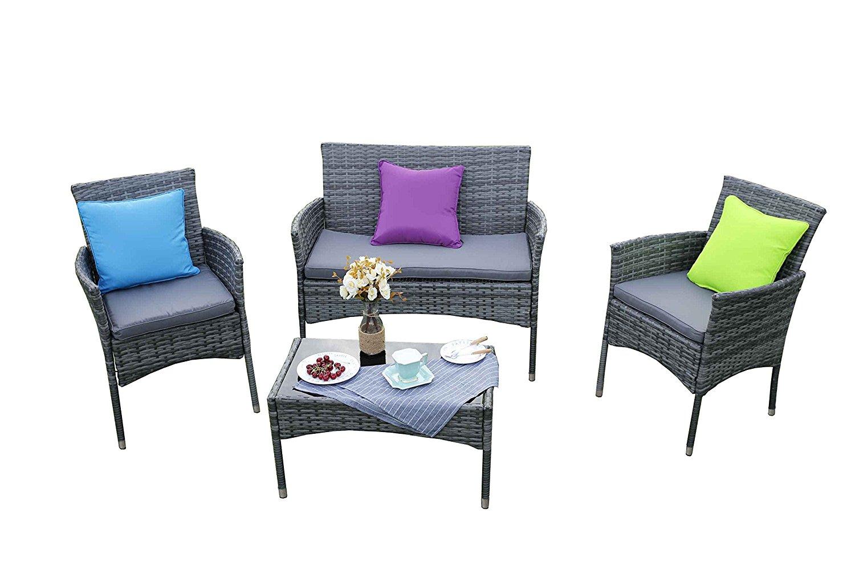 Yakoe eton range outdoor rattan garden furniture sofa set for Sofa exterior amazon