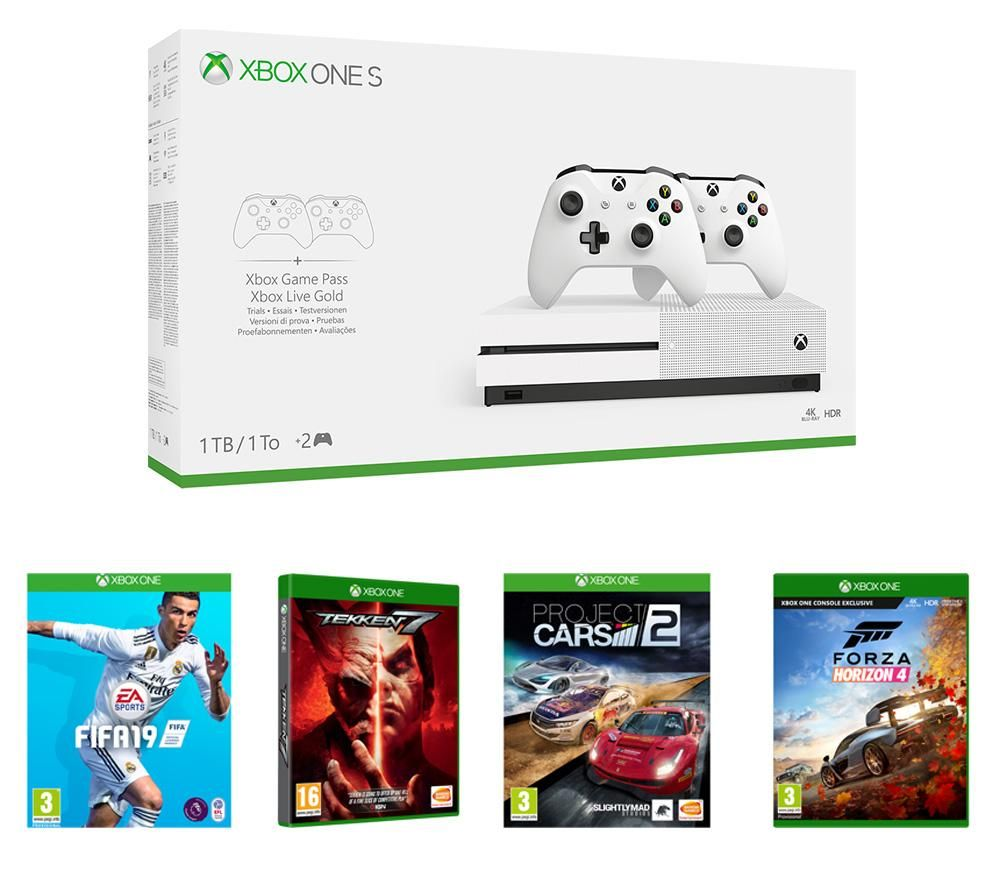 xbox one s with forza horizon 4 fifa 19 project cars 2 tekken 7 bundle currys. Black Bedroom Furniture Sets. Home Design Ideas