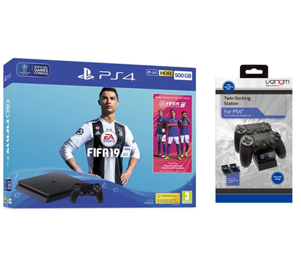 SONY PlayStation 4 500 GB with FIFA 19 & Twin Docking ...