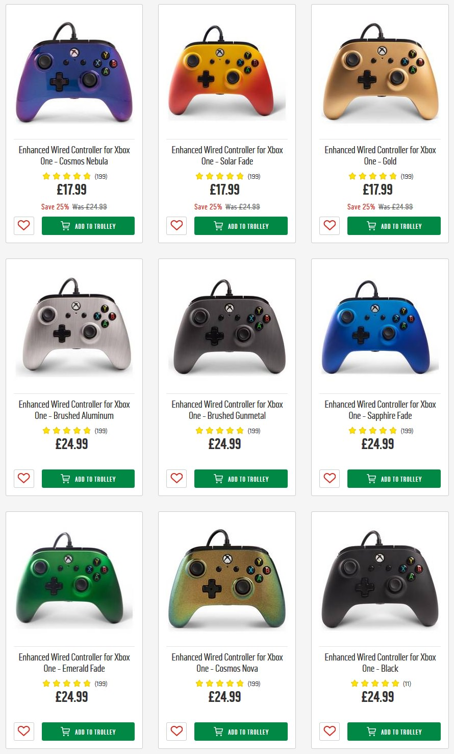 Enhanced Wired Controller for Xbox One - £17 99 - choice of colours