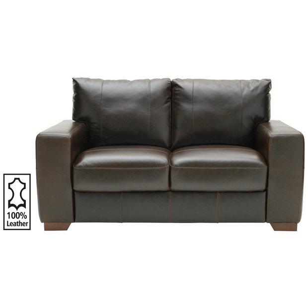 argos home eton 2 seater leather sofa dark brown. Black Bedroom Furniture Sets. Home Design Ideas