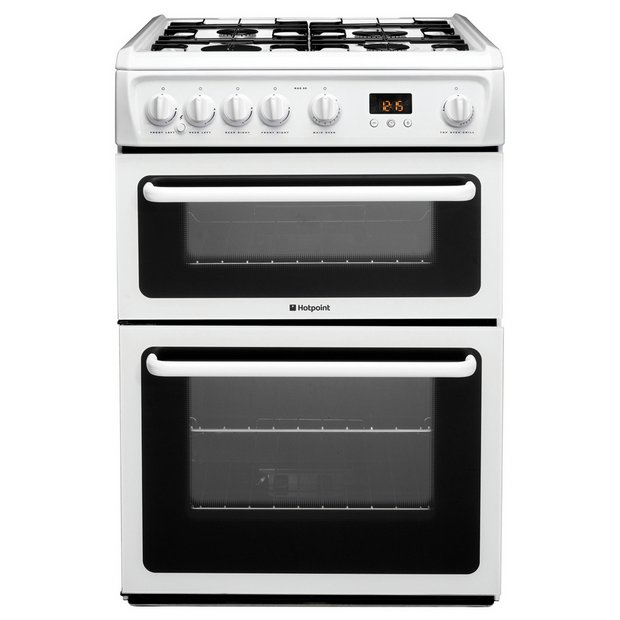 hotpoint hag60p double gas cooker white black. Black Bedroom Furniture Sets. Home Design Ideas