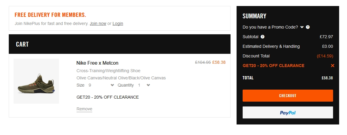 Nike Free x Metcon Cross-Training/Weightlifting Shoe £58 38 with