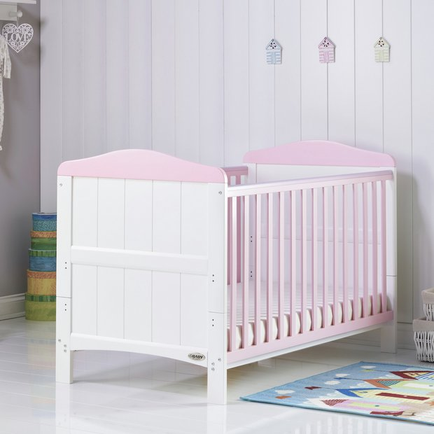 obaby whitby cot bed white with eton mess. Black Bedroom Furniture Sets. Home Design Ideas