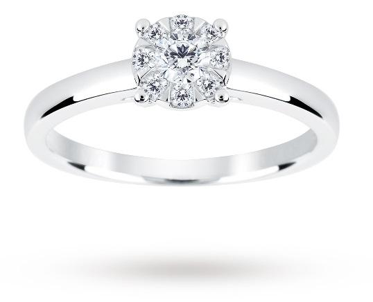 9ct White Gold 0 25 Carat Total Weight Diamond Multi Stone Ring