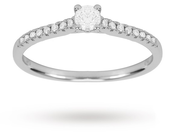 9ct White Gold 0.38cttw Diamond Claw Set Engagement Ring