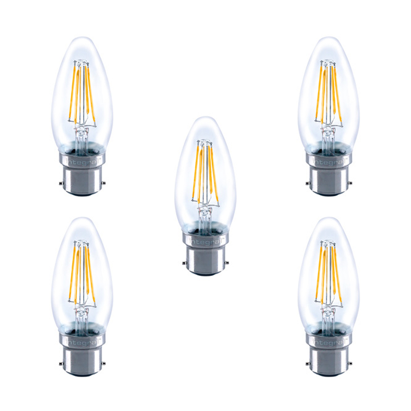 integral led glass candle bulb b22 4w 40w 2700k non. Black Bedroom Furniture Sets. Home Design Ideas