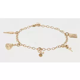 Disney Gold Plated Silver Beauty & the Beast Charm Bracelet