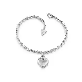 Guess Rhodium Plated with Logo Heart Charm Bracelet