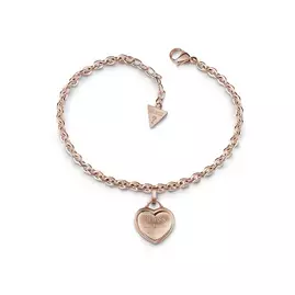Guess Rose Gold Plated with Logo Heart Charm Bracelet