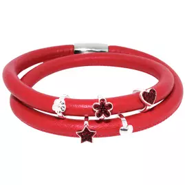 Link Up 2 Row Red Leather Cord Bracelet