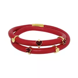 Link Up 2 Row Red Leather Cord Charm Bracelet
