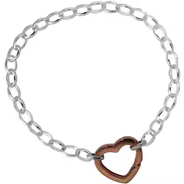 Link Up S.Silver Rose Gold Plated Clip Heart Clasp and Chain