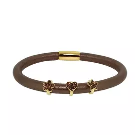 Link Up Single Row Brown Cord Leather Bracelet