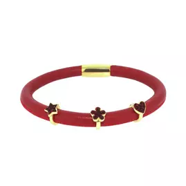Link Up Single Row Red Leather Charm Bracelet