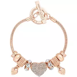 Lipsy Gold Plated Crystal Pave Heart Charm T-Bar Bracelet