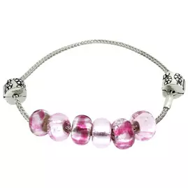 Miss Glitter Silver Made Up Pink Bracelet with Stopper