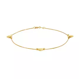 Revere 9ct Yellow Gold Box Chain with Heart Charms Bracelet