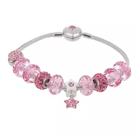 Revere Silver Colour Pink Crystal Beaded Charm Bracelet