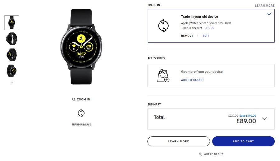 Galaxy Watch Active £89 Trade-in @ Samsung