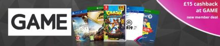 £15 Cashback When You Spend £15 at GAME via TopCashback