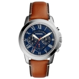 Fossil Men's Grant Chronograph Leather Strap Watch, Tan/Navy £119 at John Lewis