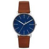 Skagen Men's Signatur Leather Strap Watch, Tan/Dark Blue £119 at John Lewis