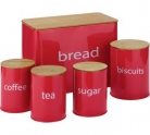 ColourMatch Set of 5 Wooden Lid Storage Jars – Red £12.99 at Argos