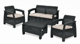 Keter Corfu Outdoor 4 Seater Rattan Sofa Furniture Set with Accent Table – Graphite with Cream Cushions £159.99 at Amazon