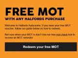 Free MOT with ANY Purchase @ Halfords
