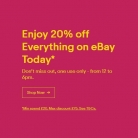 20% OFF Everything on eBay Today – from 12PM – 6PM with Code