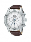 Pulsar Mens Chronograph Watch with a Stainless Steel Case and Brown Leather Strap featuring a White Dial £80.00 at Very