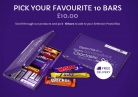 Pick 10 of Your Cadbury Favourites Bars £10 and Get FREE Postage at Cadbury Gifts Direct