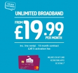 Unlimited Broadband with Line Rental + £50 Reward Card £19.99 for 18 Months at Plusnet