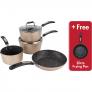 Scoville Neverstick 4 Piece Free Frying Pan Gold Cookware Set £35 @ Asda George